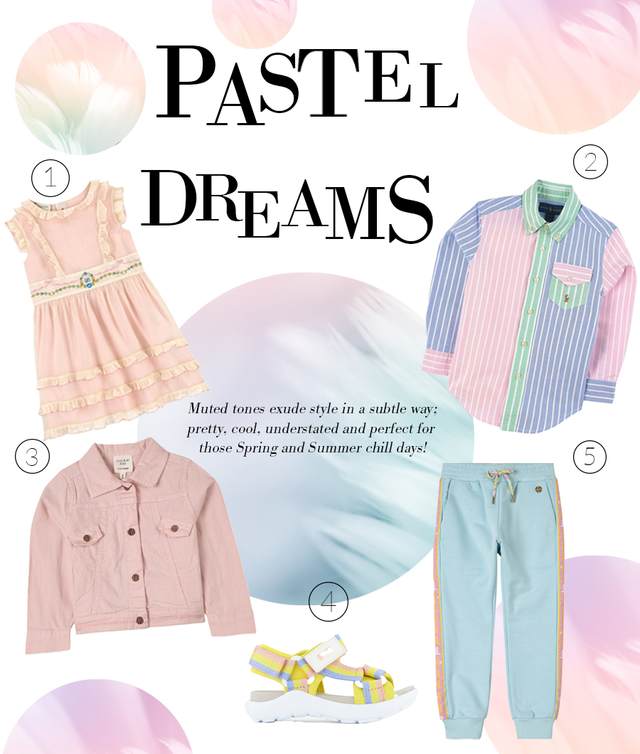 pastel trend kids clothes from Camper, Gucci and Ralph Lauren