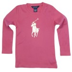 Ralph Lauren: Pink Long Sleeved T-Shirt with Gold Polo Motif £46.50