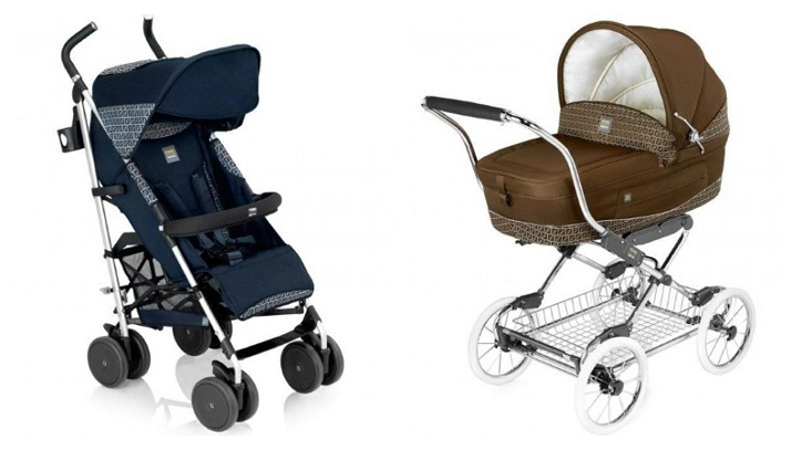 29d83e8bb70 The Fendi insignia stroller features the iconic Zucca print and is  lightweight