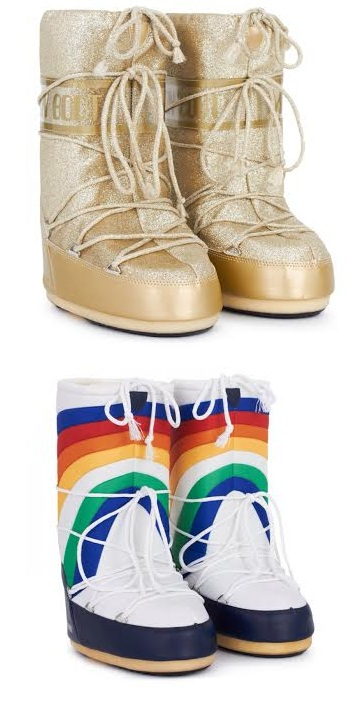 gold and rainbow moon boots