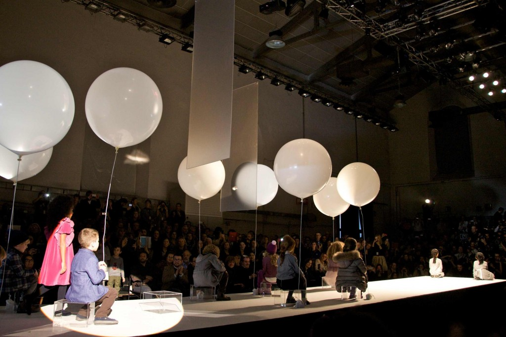 Dreamlike Balloons suspended over the catwalk at Il Gufo
